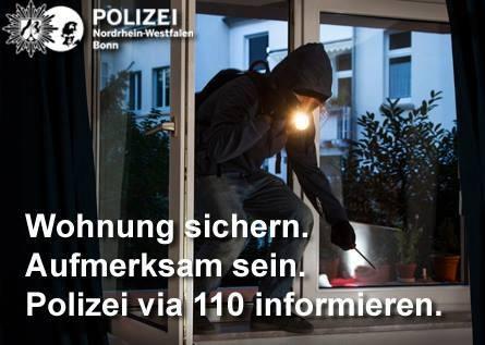 Einbruch in Einfamilienhaus auf dem Heiderhof - Zeugen gesucht. Hinweise an das KK34 unter 0228/15-0