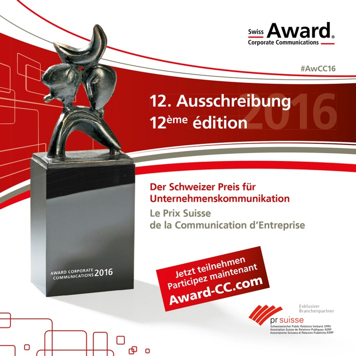 Swiss Award Corporate Communications: Ausschreibung gestartet