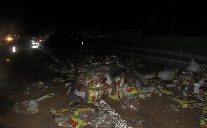 POL-VDMZ: Sattelzug kommt von Autobahn ab - Hundefutter auf der Autobahn