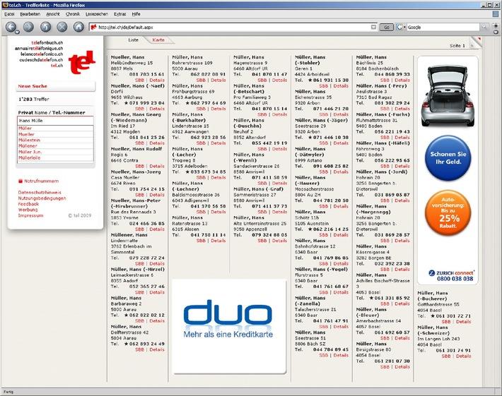 Il nuovo elenco telefonico ufficiale della Svizzera: tel