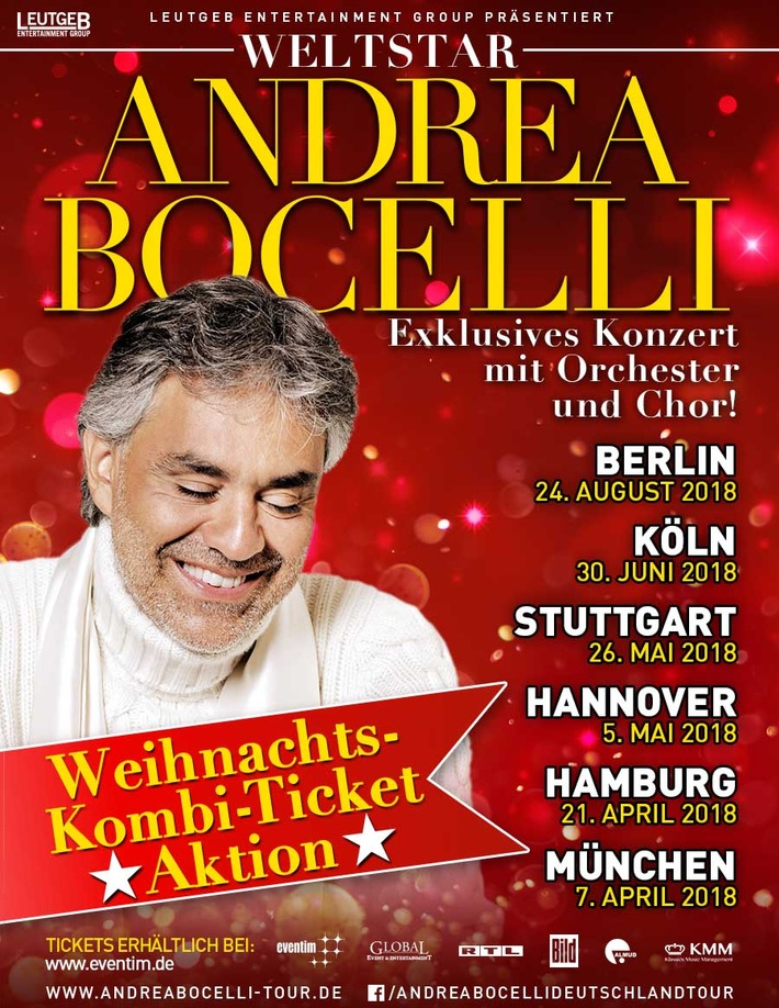 ▷ Andrea Bocelli Deutschlandtour 2018 - Weihnachtsaktion | Presseportal