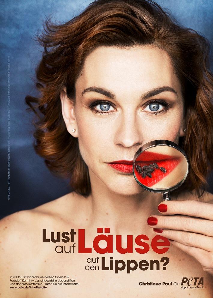 Schauspielerin Christiane Paul Präsentiert Sexy Rote Lippen