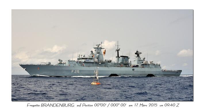 """Fregatte """"Brandenburg"""" auf Position 00°00' / 000°00'."""