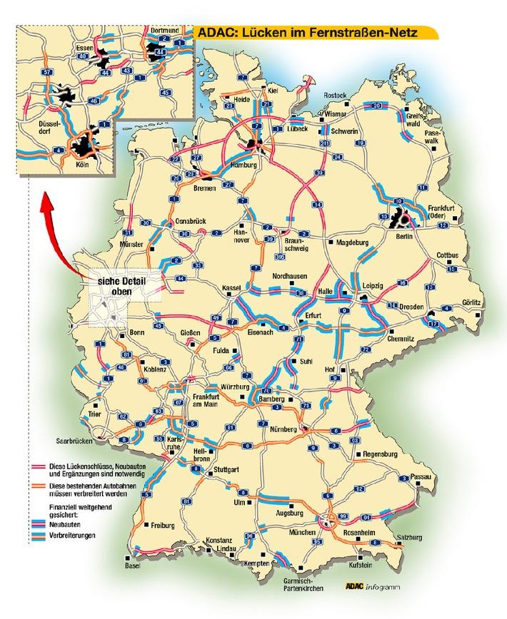 """Bis zum Jahr 2020 müssen nach Berechnungen des ADAC inDeutschland noch 2400 Kilometer neue Autobahnen gebaut werden. Schon bis 2015 wird der Güterverkehr auf den Autobahnen um rund 64 und der Pkw-Verkehr um 20 Prozent zunehmen. Die künftige Bundesregierung muss in den nächsten 18 Jahren mindestens 2,5 Milliarden Euro jährlich zusätzlich für den Neubau und Erhalt des Bundesfernstraßennetzes zur Verfügung stellen.Die Verwendung dieses Bildes ist für redaktionelle Zwecke honorarfrei. Abdruck bitte unter Quellenangabe: """"obs/ADAC"""""""