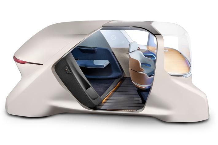 """Der XiM20 von Yanfeng ist ein Smart-Cabin-Konzept für vollständig autonome Ridesharing-Fahrzeuge. Weiterer Text über ots und www.presseportal.de/nr/117551 / Die Verwendung dieses Bildes ist für redaktionelle Zwecke honorarfrei. Veröffentlichung bitte unter Quellenangabe: """"obs/Yanfeng Automotive Interiors"""""""