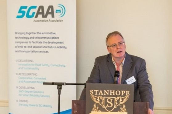 """The 5G Automotive Association (5GAA), a cross-industry association of the telecoms and automotive industry, held a policy debate on Tuesday 5 December 2017 in Brussels to discuss the concrete actions necessary to implement 5G connected and automated vehicles in Europe. Pictured: Markus Dillinger, 5GAA Secretary and Member of the Executive Committee. Picture © Thomas Blairon, 2017. Reproduction of this image is authorised, provided the source is acknowledged .More information via ots and   www.presseportal.de/nr/125448 / Editorial use of this picture is free of charge. Please quote the source: """"ops/5GAA - 5G Automotive Association e.V."""""""