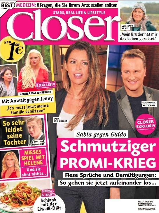 """Cover Closer 5/2018 Weiterer Text über ots und www.presseportal.de/nr/104352 / Die Verwendung dieses Bildes ist für redaktionelle Zwecke honorarfrei. Veröffentlichung bitte unter Quellenangabe: """"obs/Bauer Media Group, Closer/Closer"""""""