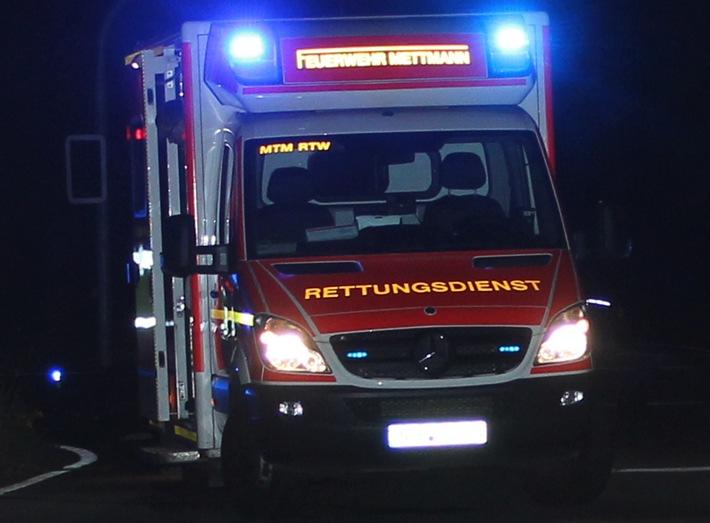 Verkehrsunfall mit zwei Schwerverletzten -  Velbert