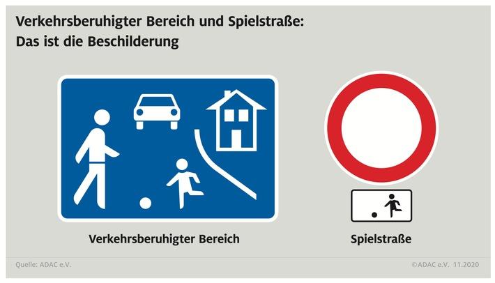 Straßenschilder - Verkehrsberuhigter Bereich