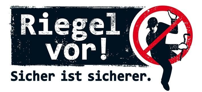 Logo der Präventionskampagne der Polizei NRW Riegel vor! Sicher ist sicherer.