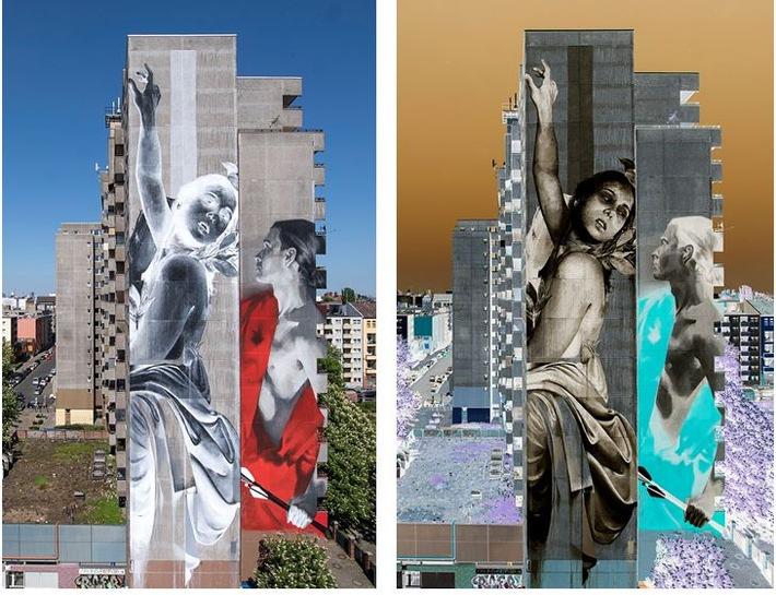 Links ist die Fotografie des Original-Kunstwerks von Francisco Bosoletti und Young Jarus (re.) zu sehen. Rechts die invertierte Version. Foto: Nika Kramer/URBAN NATION.
