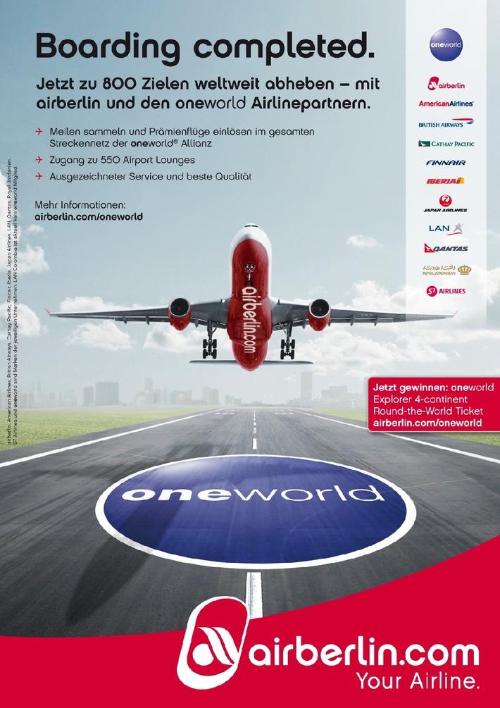 """Neue Werbekampagne von airberlin und oneworld / """"oneworld Explorer 4-continent Round-the-World Ticket"""" zu gewinnen"""