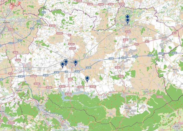Die Einbrüche und Versuche der 30. Kalenderwoche.   Grafik: Daten von OpenStreetMap - Veröffentlicht unter ODbL