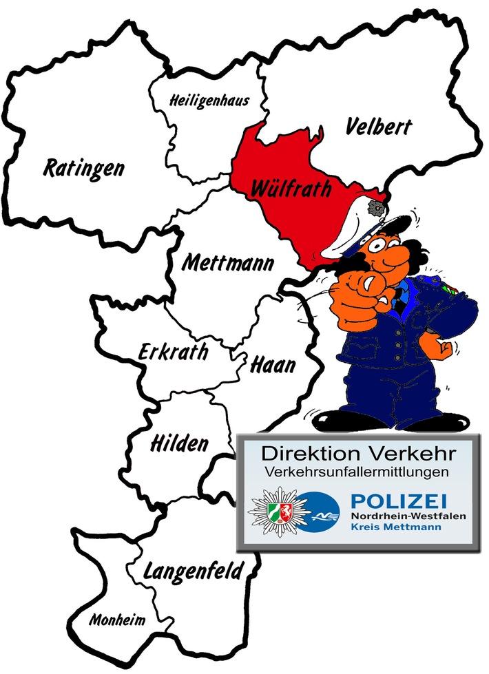 Symbolbild: Aktuelle Verkehrsunfallflucht aus Wülfrath beschäftigt die polizeilichen Ermittler vom zuständigen Verkehrskommissariat der Direktion Verkehr im Kreis Mettmann
