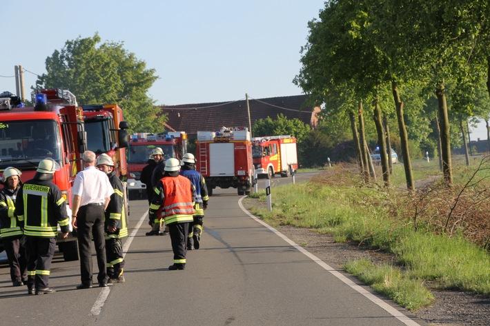 Die Münsterstrasse war zwischen Werne und Herbern für ca. drei Stunden voll gesperrt