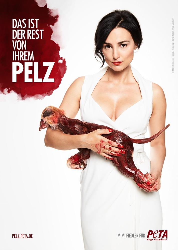 Schauspielerin Mimi Fiedler in neuer PETA-Kampagne: Das ist der Rest von Ihrem Pelz