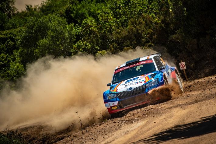 SKODA Motorsport bei der Rallye Italien Sardinien: Starkes Ergebnis beim erst zweiten Start in der WRC3 - Pepe Lopéz (ESP) und Diego Valleja (ESP) aus dem Rally Team Spain brachten ihren SKODA FABIA Rally2 evo auf WRC3-Rang zwei ins Ziel. / Weiterer Text über ots und www.presseportal.de/nr/28249 / Die Verwendung dieses Bildes ist für redaktionelle Zwecke unter Beachtung ggf. genannter Nutzungsbedingungen honorarfrei. Veröffentlichung bitte mit Bildrechte-Hinweis.