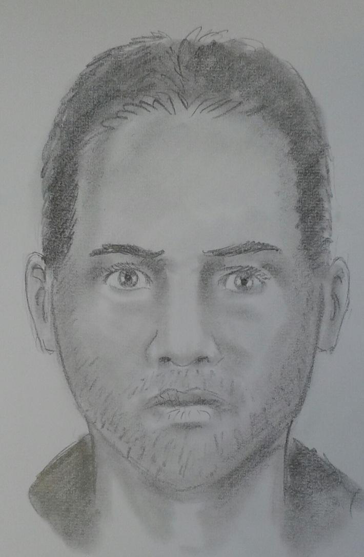 Da es zur Tatzeit dunkel war, vermittelt die Zeichnung lediglich einen ungefähren Eindruck des Täteraussehens.