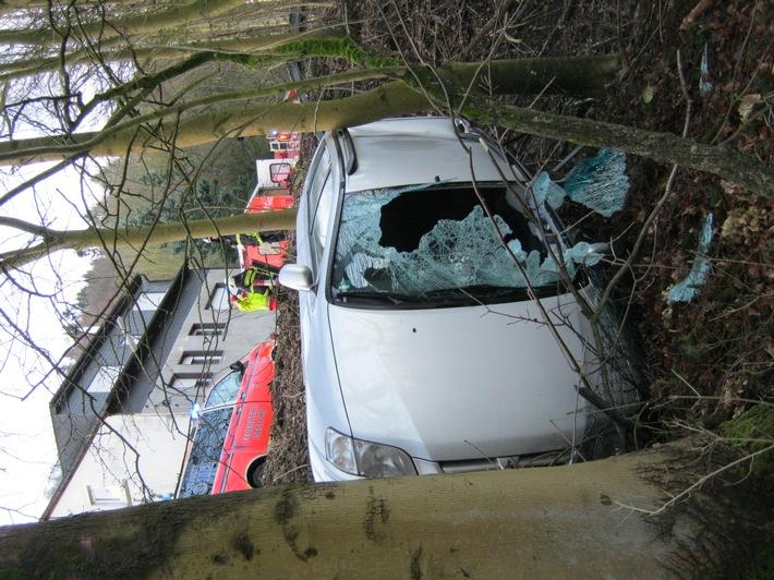 FW-MK: Baumstumpf in Fahrzeug gebohrt, Fahrerin verletzt