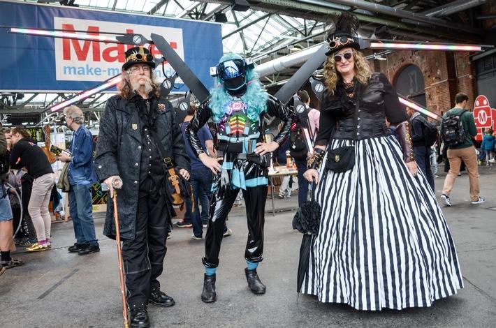 Steampunker auf dem DIY-Festival Maker Faire / Weiterer Text über ots und www.presseportal.de/nr/115465 / Die Verwendung dieses Bildes ist für redaktionelle Zwecke honorarfrei. Copyright: Philip Steffan, Maker Faire