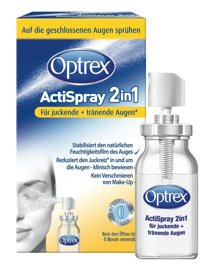 """Optrex ActiSpray 2in1 für juckende und tränende Augen. Weiterer Text über ots und www.presseportal.de/nr/115990 / Die Verwendung dieses Bildes ist für redaktionelle Zwecke honorarfrei. Veröffentlichung bitte unter Quellenangabe: """"obs/RB Deutschland"""""""