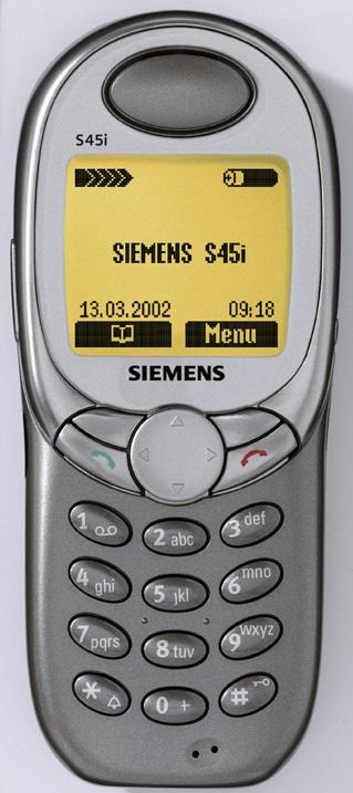 """Das Siemens S45i ist mit einem E-mail Client, schnellerer Synchronisation und dem neuen spannenden Spiel RaceAce ausgestattet. Es ist der ideale Begleiter für Geschäftsreisende und begeistert in zwei neuen Farben, Titan Silver und Royal Champagne. Abdruck bitte unter Quellenangabe: """"obs/Siemens AG"""""""