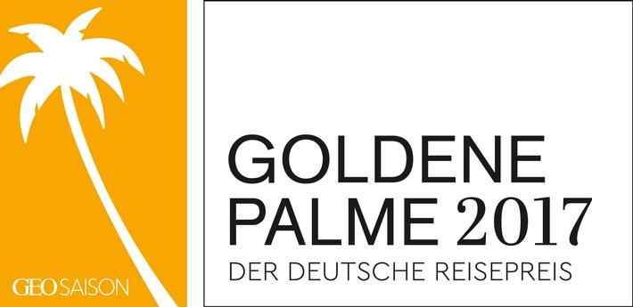 """Logo Goldene Palme 2017. Weiterer Text über ots und www.presseportal.de/nr/107816 / Die Verwendung dieses Bildes ist für redaktionelle Zwecke honorarfrei. Veröffentlichung bitte unter Quellenangabe: """"obs/Gruner+Jahr, GEO Saison/Logo Goldene Palme 2017"""""""