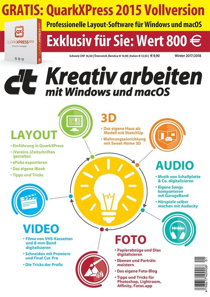 """c't-Sonderheft """"Kreativ arbeiten"""" mit QuarkXPress 2015 / Gratis: Layout-Software im Wert von 800 Euro"""