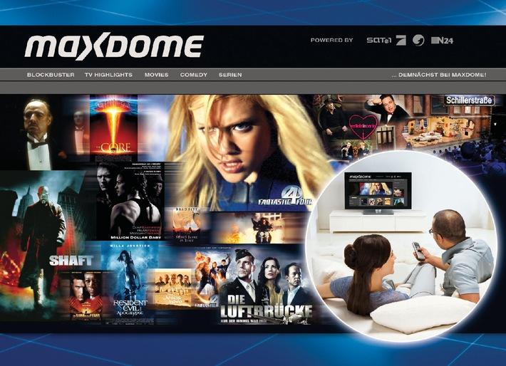 """maxdome: Das neue Video-on-Demand-Portal der ProSiebenSat.1-Gruppe und der United Internet AG. Die Verwendung dieses Bildes ist für redaktionelle Zwecke honorarfrei. Abdruck bitte unter Quellenangabe: """"obs/ProSiebenSat.1 Media AG"""""""