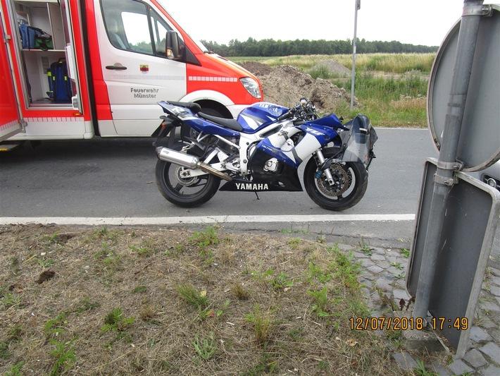 Foto: Polizei Münster (Das Foto zeigt das beschädigte Motorrad)  Veröffentlichung mit dieser Pressemitteilung honorarfrei.