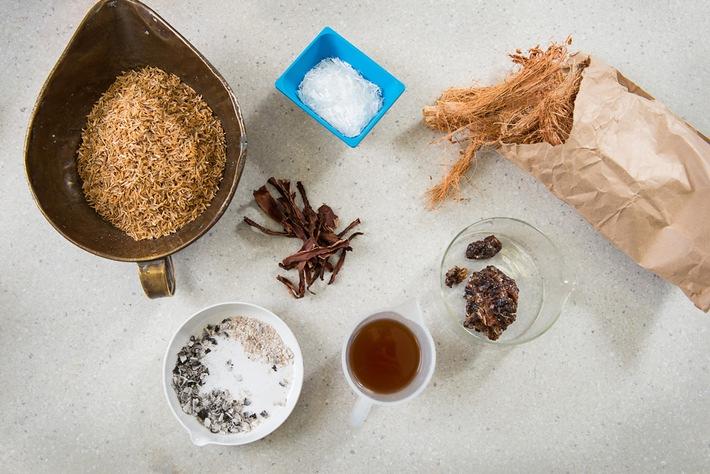 """Der Stoff für den """"Bio-Beton"""": Reisschalen, Asche von Cassava-Schalen, Karroo-Gum und Kokosfasern Quelle: BAM, Bild: ..."""