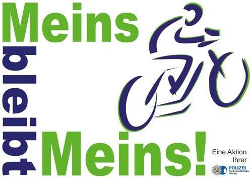 """Foto: Polizei Münster (Das Foto zeigt das Logo der Kampagne """"Meins bleibt Meins"""")  Veröffentlichung mit dieser Pressemitteilung honorarfrei.   Bildrechte: Polizeipräsidium Münster"""