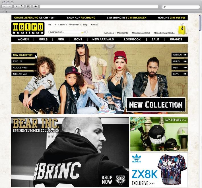 """Metro Boutique Fashion Online-Shop. www.metroboutique.ch / Weiterer Text über OTS und www.presseportal.ch/pm/100020328 / Die Verwendung dieses Bildes ist für redaktionelle Zwecke honorarfrei. Veröffentlichung bitte unter Quellenangabe: """"OTS.Bild/Metro Boutiques AG"""""""
