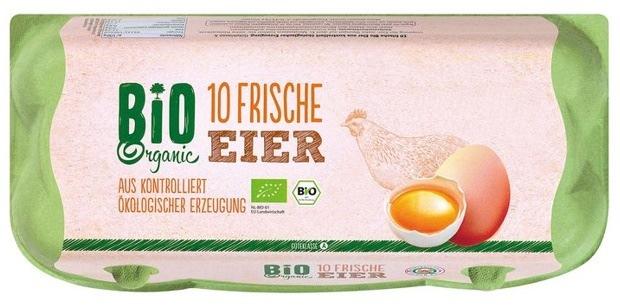"""Die Eifrisch-Vermarktung GmbH & Co. KG  informiert über einen Warenrückruf des Produktes """"Bio-Eier [Gr. M, L, XL], 10er Packung"""". Weiterer Text über ots und www.presseportal.de/nr/58227 / Die Verwendung dieses Bildes ist für redaktionelle Zwecke honorarfrei. Veröffentlichung bitte unter Quellenangabe: """"obs/LIDL"""""""