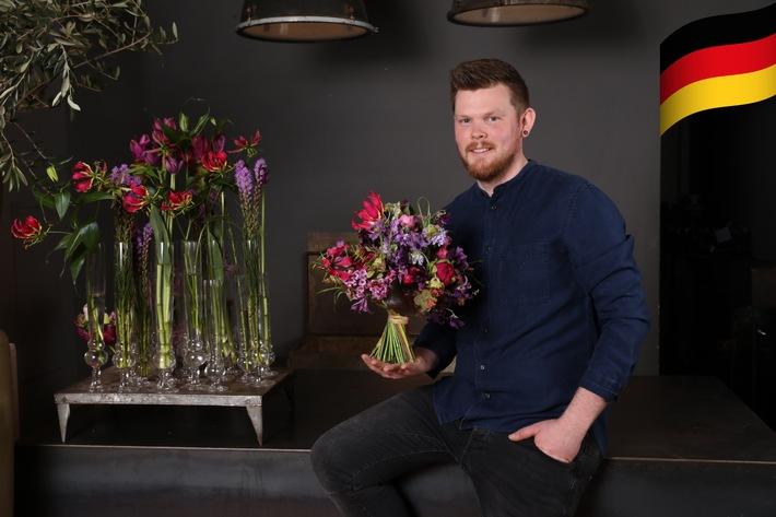 Stephan Triebe ist amtierender Deutscher Meister der Floristen und wird Deutschland beim FTD-Fleurop-Interflora World Cup 2019 in den USA vertreten. | Foto: Melanie Dreysse/Fleurop AG