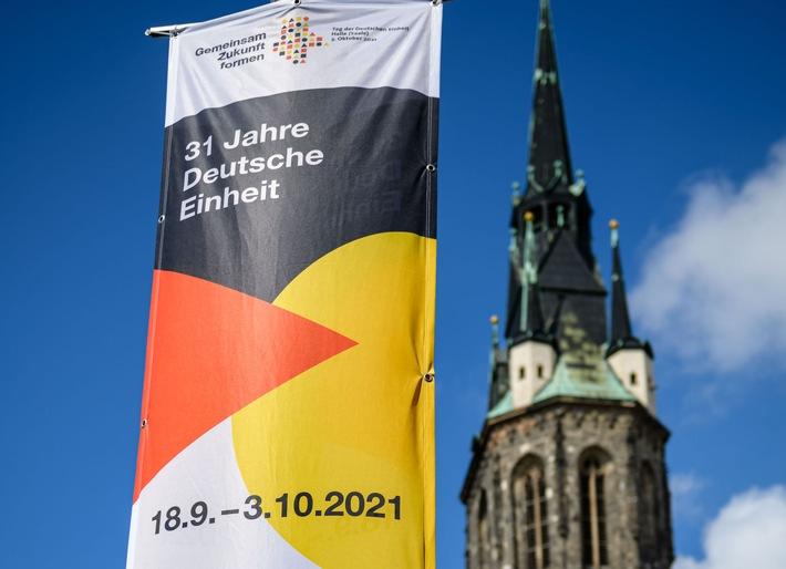 Der Tag der Deutschen Einheit wird 2021 in Halle (S.) gefeiert. / Weiterer Text über ots und www.presseportal.de/nr/157804 / Die Verwendung dieses Bildes ist für redaktionelle Zwecke unter Beachtung ggf. genannter Nutzungsbedingungen honorarfrei. Veröffentlichung bitte mit Bildrechte-Hinweis.