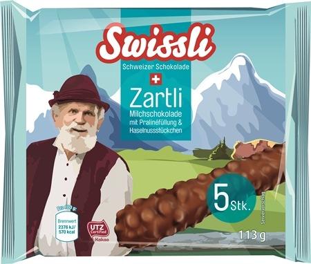 Swissli Zartli Milchschokoladenriegel mit Pralinenfüllung und Haselnussstückchen (© Netto-Marken-Discount)