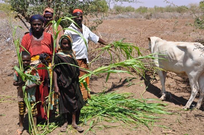 World Vision Äthiopien: von Dürre betroffene Familie