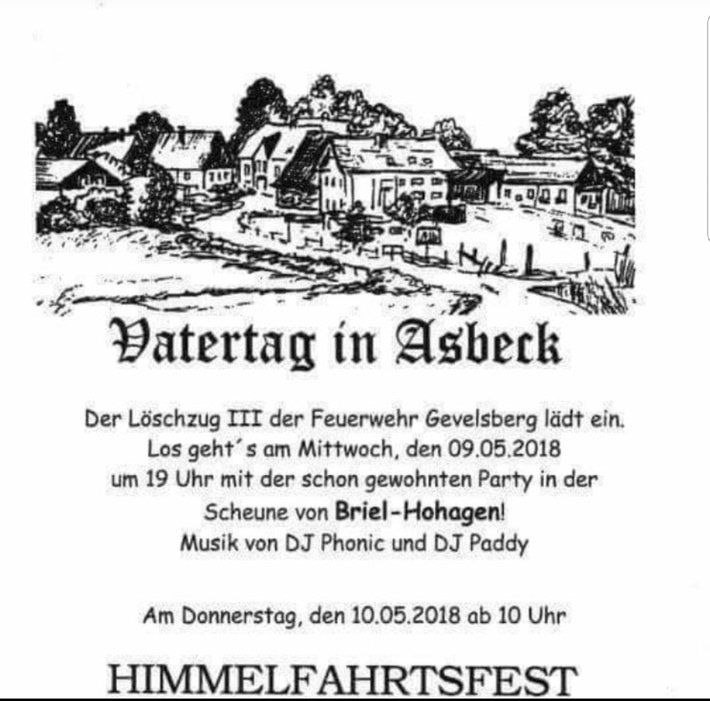 FW-EN: Himmelfahrt in Asbeck