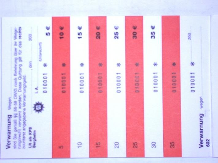 POL-BM: Erftkreis Verfahrensweise bei der Erhebung von Verwarngeldern nach Umstellung auf EURO / Foto
