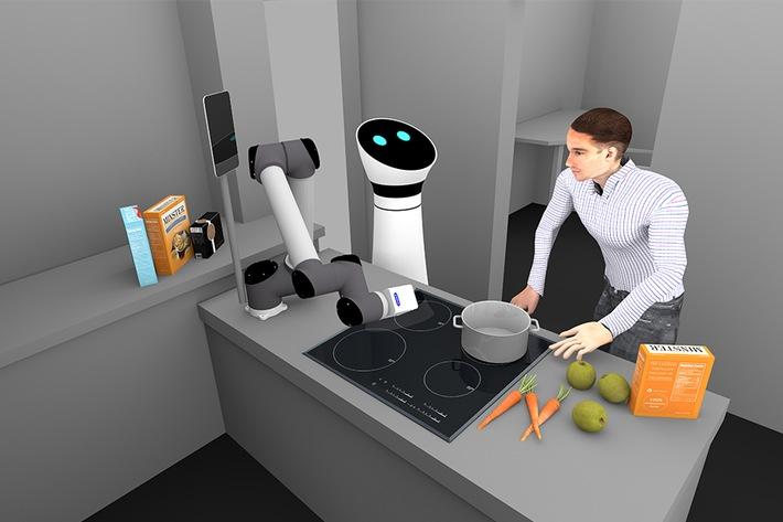 Im Projekt AuRorA unterstützen Roboter in Alltagssituationen, wie hier beim interaktiven Kochen.