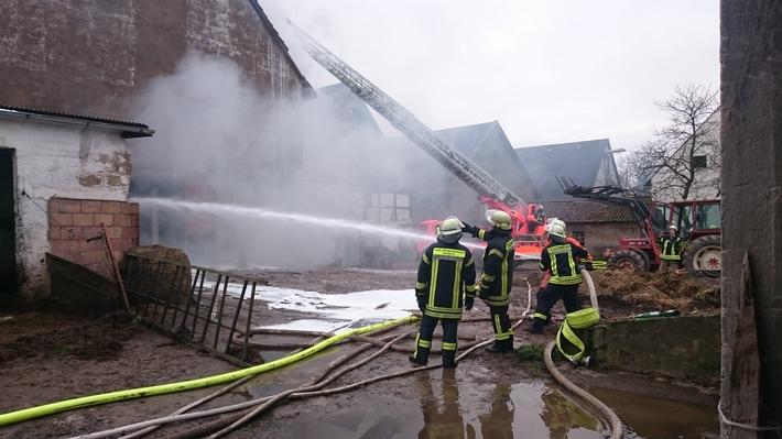 POL-HM: Zahlreiche Ferkel bei Scheunenbrand verendet
