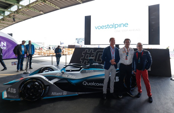 Präsentation des neuen E-Cars bei der Formel E in Berlin: David Coulthard; Alejandro Agag, Gründer und CEO der Formel E; Wolfgang Eder, CEO voestalpine AG