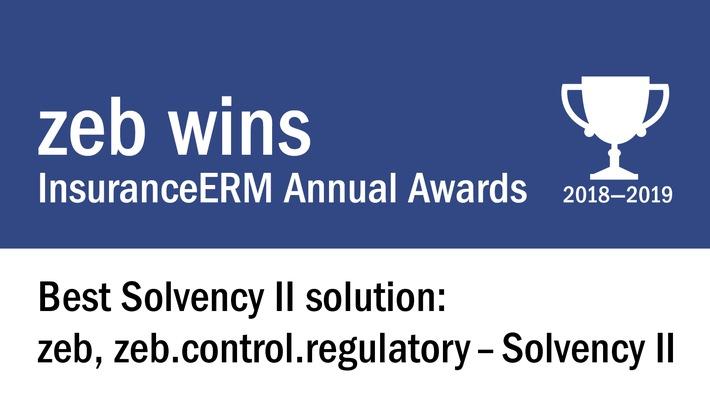 """Auszeichnung für Solvency-II-Software von zeb - """"InsuranceERM Awards"""" als """"Best Solvency II Solution"""" 2018/19 / Weiterer Text über ots und www.presseportal.de/nr/119614 / Die Verwendung dieses Bildes ist für redaktionelle Zwecke honorarfrei. Veröffentlichung bitte unter Quellenangabe: """"obs/zeb"""""""