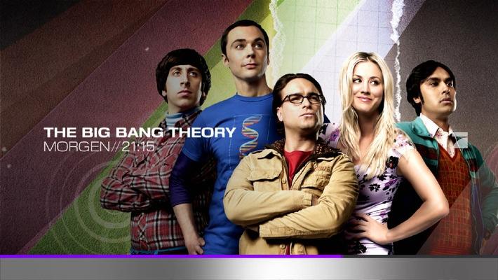 """So kündigt ProSieben """"The Big Bang Theory"""" im aktuellen Design an ...  Hinweis für PRINT: Der Abdruck des honorarfreien Bildes ist bis einschließlich des Ausstrahlungsdatums gestattet. Verwendung nur mit Copyrightvermerk (© Warner Bros. Television) und zu Programmankündigungszwecken. Spätere Veröffentlichungen sind nur nach Rücksprache und ausdrücklicher Genehmigung der ProSiebenSat.1 Media AG möglich. Die Fotos dürfen nicht verändert, bearbeitet und nur im Ganzen verwendet und nicht an Dritte weitergeleitet werden.  Hinweis für ONLINE: Die Nutzung des honorarfreien Bildes ist bis einschließlich des Ausstrahlungsdatums  gestattet. Verwendung nur mit Copyrightvermerk (© Warner Bros. Television) und zu Programmankündigungszwecken. Für die Programmankündigung Online sind die Bilder unter folgenden Voraussetzungen freigegeben: - Ausschließlich im Zusammenhang mit einer Programmankündigung - Die Bilder dürfen nicht in druckfähiger Qualität verwendet werden - Eine Verlinkung zur Internetseite des aktuell ausstrahlenden Senders (z.B. prosieben.de) muss erfolgen - Der Copyrightvermerk muss nahe am Bild angegeben werden (bei Fotostrecken an jedem Bild)  - Nicht für EPG! - nicht für Facebook, Twitter ect.  Spätere Veröffentlichungen sind nur nach Rücksprache und ausdrücklicher Genehmigung der ProSiebenSat.1 Media AG möglich. Die Fotos dürfen nicht an Dritte weitergeleitet werden. Weiterer Text über OTS und www.presseportal.de/pm/25171 / Die Verwendung dieses Bildes ist für redaktionelle Zwecke honorarfrei. Veröffentlichung bitte unter Quellenangabe: """"obs/ProSieben Television GmbH"""""""
