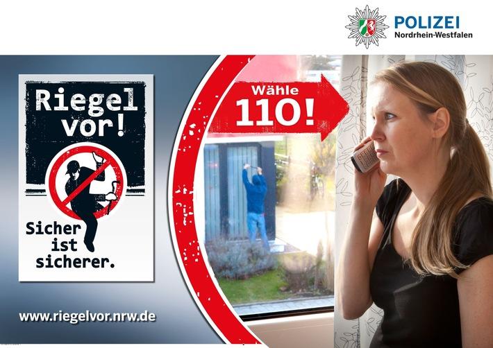 Wählen Sie bei verdächtigen Beobachtungen den Notruf der Polizei (110) und schildern Sie die Situation möglichst genau. Die Polizei kann so Ihrem Verdacht nachgehen und zeitnah überprüfen, ob alles seine Richtigkeit hat. (Logo der landesweiten Kampagne