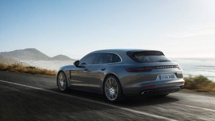"""Porsche Panamera Turbo Sport Turismo. Weiterer Text über ots und www.presseportal.ch/de/nr/100050872 / Die Verwendung dieses Bildes ist für redaktionelle Zwecke honorarfrei. Veröffentlichung bitte unter Quellenangabe: """"obs/Porsche Schweiz AG"""""""