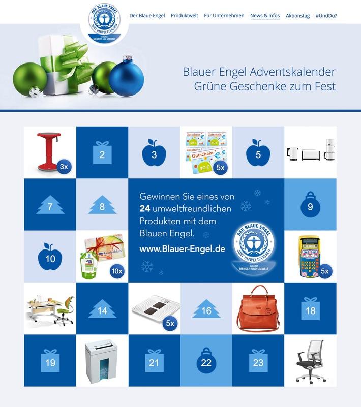 24 himmlische Geschenke mit dem Blauen Engel / Blauer Engel Online-Adventskalender verlost umweltfreundliche Weihnachtsgeschenke