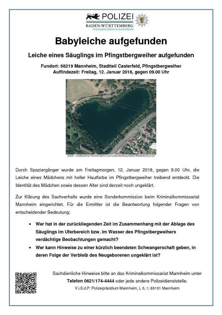 POL-MA: Mannheim-Pfingstberg: Fund einer Babyleiche am Pfingstbergweiher - Zeugenhinweise dringend erbeten - Pressemeldung Nr. 3