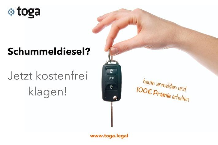 """VW-Dieselbesitzer: Jetzt kostenfrei klagen! Weiterer Text über ots und www.presseportal.de/nr/135938 / Die Verwendung dieses Bildes ist für redaktionelle Zwecke honorarfrei. Veröffentlichung bitte unter Quellenangabe: """"obs/toga"""""""